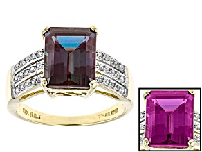 Pre-Owned Color Change Lab Created Alexandrite 10k Yellow Gold Ring 4.57ctw