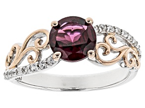 Pre-Owned Purple Rhodolite Silver And 18k Rose Gold Over Silver Two-Tone Ring 1.45ctw