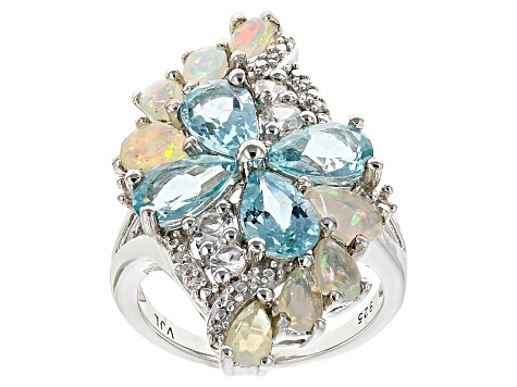 Pre-Owned Paraiba Color Apatite Sterling Silver Ring 4.73ctw