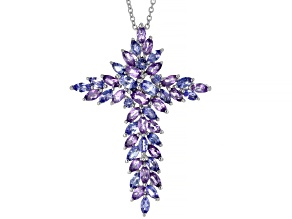 Pre-Owned Blue Tanzanite Sterling Silver Cross Pendant With Chain 5.37ctw