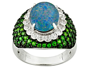 Pre-Owned Multi Color Opal Triplet Sterling Silver Ring 2.58ctw