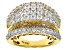 Pre-Owned Cubic Zirconia 18k Yellow Gold Over Silver Ring 6.45ctw