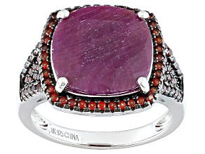 Pre-Owned Red indian Ruby Sterling Silver Ring 8.35ctw