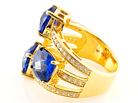 Pre-Owned Blue And White Cubic Zirconia 18k Yellow Gold Over Silver Ring 12.76ctw