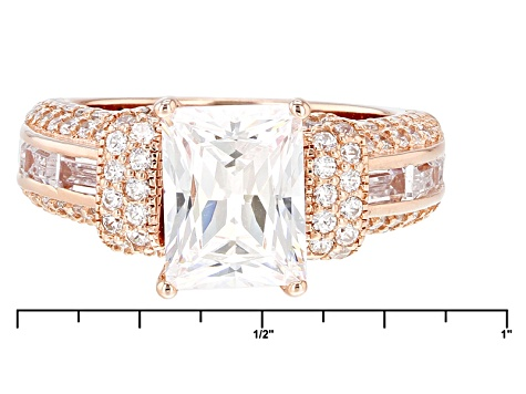 Pre-Owned Cubic Zirconia 18k Rose Gold Over Silver Ring 6.81ctw