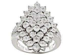 Pre-Owned Diamond Sterling Silver Cluster Ring .10ctw