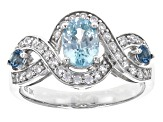 Pre-Owned London Blue Zircon Sterling Silver Ring 1.51ctw
