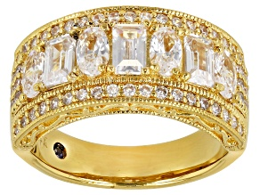 Pre-Owned White Cubic Zirconia 18K Yellow Gold Over Sterling Silver Ring 3.47ctw