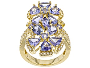 Pre-Owned Blue tanzanite 18k yellow gold over silver ring 4.84ctw