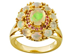 Pre-Owned Ethiopian Opal And Pink Tourmaline 18k Gold Over Silver Ring. 1.65ctw