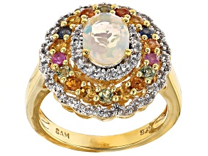 Pre-Owned Ethiopian Opal, Multicolor Sapphire And Zircon 18k Yellow Gold Over Sterling Silver Ring 1