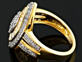 Pre-Owned White Zircon 18k Gold Over Silver Ring 2.39ctw