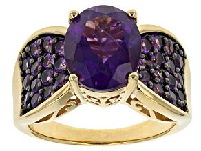 Pre-Owned Purple African Amethyst 18k Yellow Gold Over Silver Ring. 3.86ctw