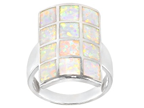Pre-Owned Opal Simulant Sterling Silver Ring