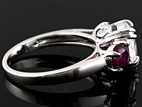 Pre-Owned White Zircon and Mahaleo Ruby Sterling Silver Ring 3.74ctw