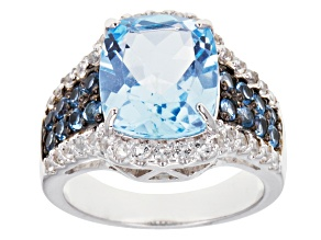 Pre-Owned Sky Blue Topaz And White Zircon Sterling Silver Ring 6.91ctw
