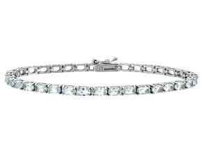 Pre-Owned Oval 6.30 Ctw Aquamarine Rhodium Over Sterling Silver Tennis Bracelet