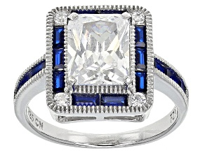 Pre-Owned Blue And White Cubic Zirconia Rhodium Over Sterling Silver Ring 5.84ctw