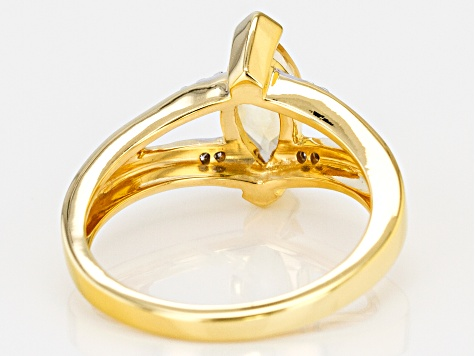 Pre-Owned Yellow citrine  18k gold over sterling silver ring .90ctw