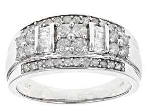 Pre-Owned Diamond Rhodium Over Sterling Silver Ring .74ctw