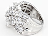 Pre-Owned White Cubic Zirconia Rhodium Over Sterling Silver Ring 5.72CTW