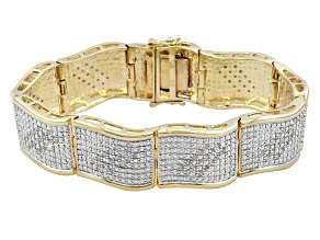 Pre-Owned Diamond 14k Yellow Gold Over Brass Bracelet 2.00ctw