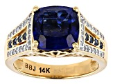 Pre-Owned Blue Kyanite, White Diamond, And Blue Sapphire 14K Yellow Gold Ring 3.86ctw