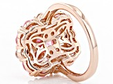 Pre-Owned Pink And White Cubic Zirconia 18k Rose Gold Over Sterling Silver Ring 6.87ctw