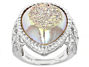 Pre-Owned White Drusy Quartz Sterling Silver Ring