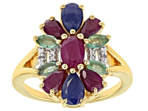 Pre-Owned Red Ruby 18k Gold Over Silver Ring 2.39ctw