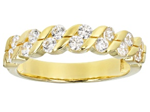 Pre-Owned White Cubic Zirconia 18K Yellow Gold Over Sterling Silver Band Ring 1.06ctw