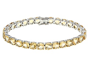 Pre-Owned Yellow Citrine Sterling Silver Tennis Bracelet 33.60ctw