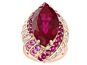 Pre-Owned Red Lab Created Ruby 18k Rose Gold Over Sterling Silver Ring 16.98ctw