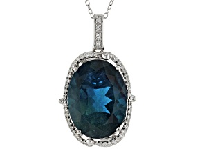 Pre-Owned Teal Blue Fluorite Sterling Silver Pendant With Chain 18.20ctw