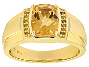 Pre-Owned Yellow golden citrine 18k yellow gold over silver gent's ring 2.52ctw