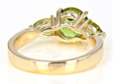 Pre-Owned Green peridot 18k gold over silver ring 2.60ctw
