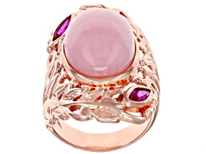 Pre-Owned Pink opal 18k rose gold over sterling silver ring .34ctw