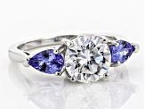 Pre-Owned Moissanite Fire® 1.90ct DEW Round And .78ctw Pear Shape Tanzanite Platineve™ Ring