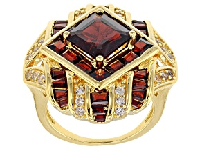 Pre-Owned Red garnet 18k yellow gold over silver ring 5.19ctw