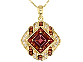 Pre-Owned Red garnet 18k yellow gold over silver pendant with chain 5.13ctw