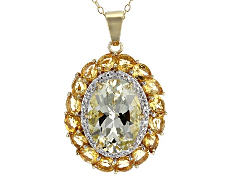 Pre-Owned Yellow Labradorite 18k Gold Over Silver Pendant with Chain 6.13ctw