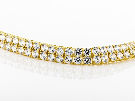 Pre-Owned White zircon 18k gold over silver bracelet 24.00ctw
