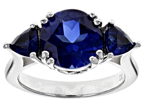 Pre-Owned Blue lab created sapphire rhodium over silver ring 4.45ctw