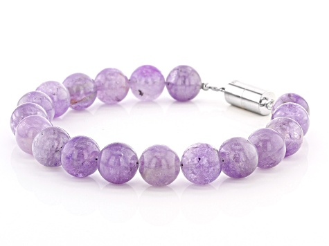 Pre-Owned Lavender amethyst rhodium over sterling silver bead bracelet