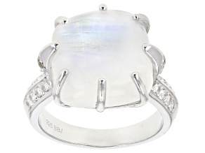 Pre-Owned White rainbow moonstone rhodium over silver ring .42ctw