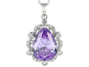 Pre-Owned Lavender And White Cubic Zirconia Rhodium Over Sterling Silver Pendant With Chain 19.61CTW