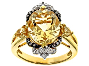 Pre-Owned Yellow citrine 18k gold over silver ring 3.95ctw