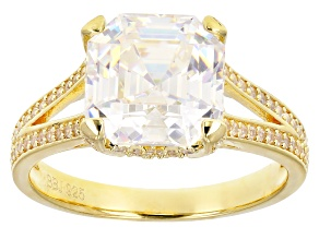 Pre-Owned White Fabulite Strontium And White Zircon 18k Yellow Gold Over Silver Ring 6.22ctw