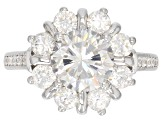 Pre-Owned White Fabulite Strontium Titanate And White Zircon Rhodium Over Silver Ring 4.75ctw