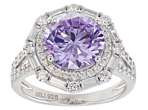 Pre-Owned Purple And White Cubic Zirconia Rhodium Over Sterling Silver Ring 8.66CTW